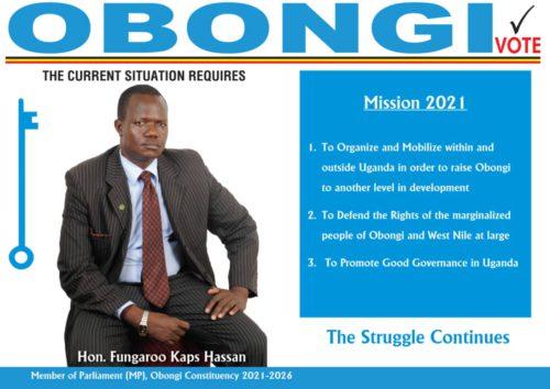 Obongi MP. Hon. Kaps Hassan Fungaro defending his position