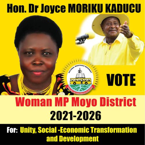 Re-election poster of  State minister of Health for Primary Health care, Hon. Joyce Moriku Kaducu for Moyo Woman MP seat.